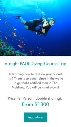 6-night PADI scuba diving course Maldives Trip