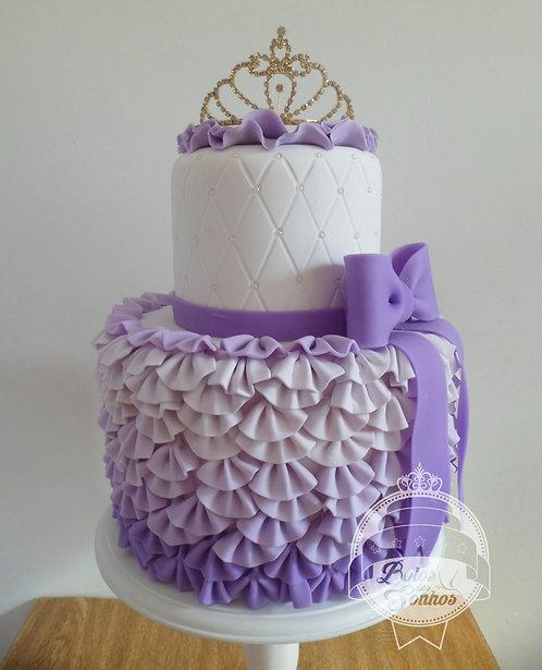 Bolo Frufru lilás e branco R9055