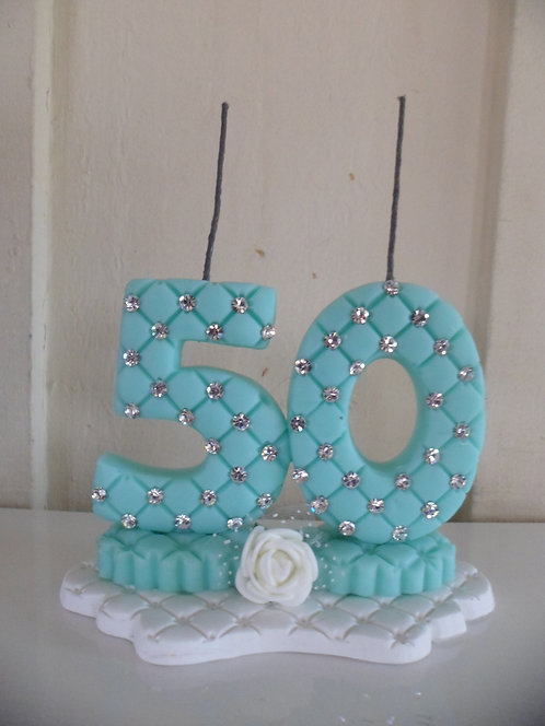 Vela 50 anos Verde Tiffany com cristais