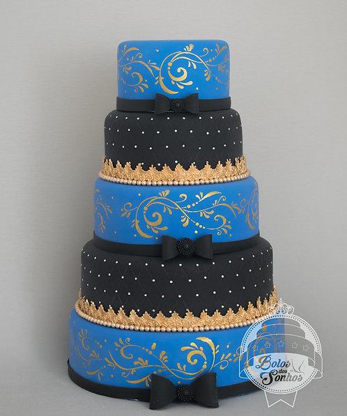 Bolo Azul Royal com Preto R9029
