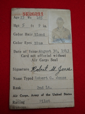 Robert G Jones military card