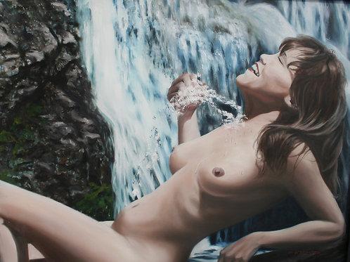 Nude at Waterfall