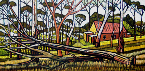 Yellow Cottage and Fallen Trees Katoomba