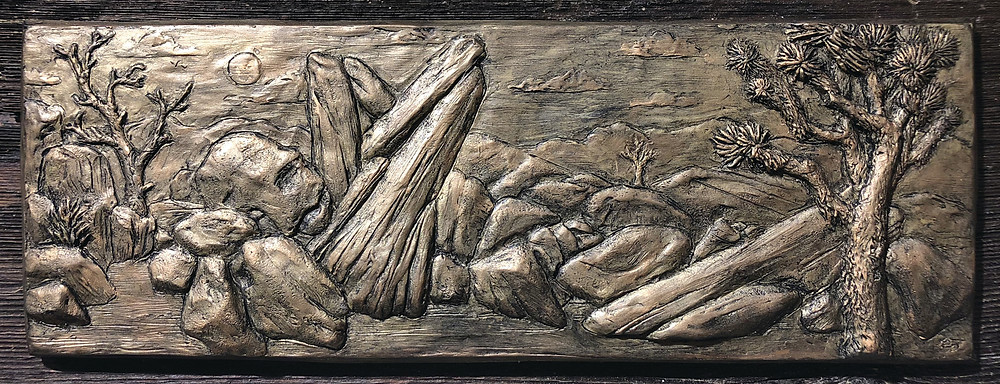 """""""Restful Day"""", plaster on wood, 8""""x24"""""""