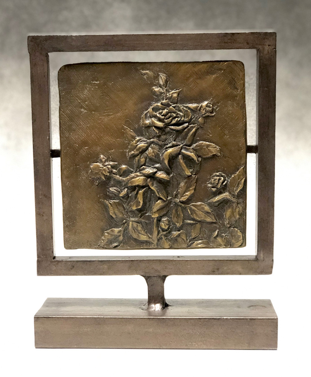 """Roses"", Bronze with steel frame, 9""x7""2"""
