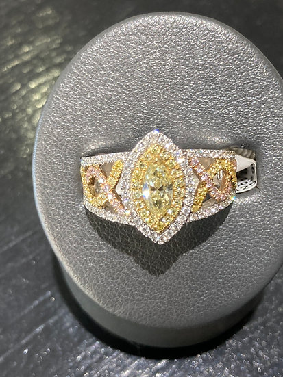 Yellow and Rose Diamond Marquee cut ring