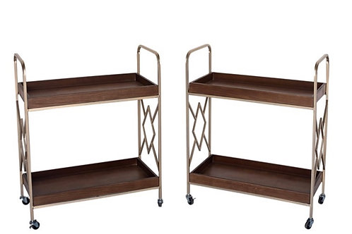 Wood and Gold Bar Carts