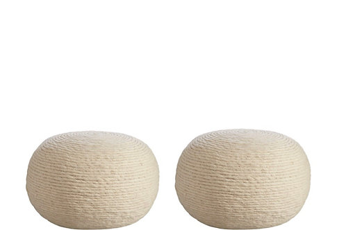 Wool Wrapped Pouf