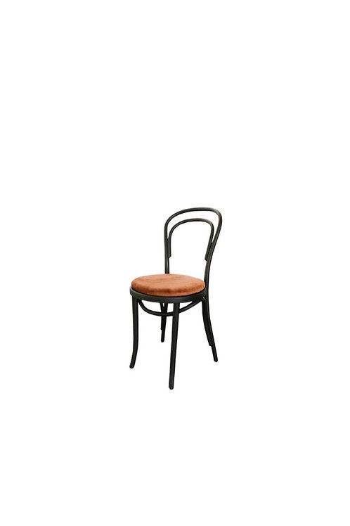 Thonet Black Bentwood Chair with Rust Velvet Cushion