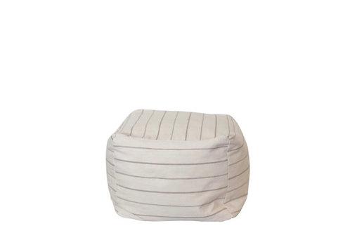 Linen Stripe Pouf Ottoman