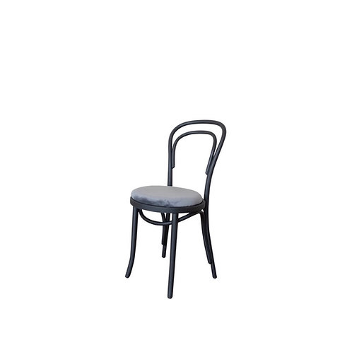 Thonet Black Bentwood Chair With Smoky Blue Velvet Cushion