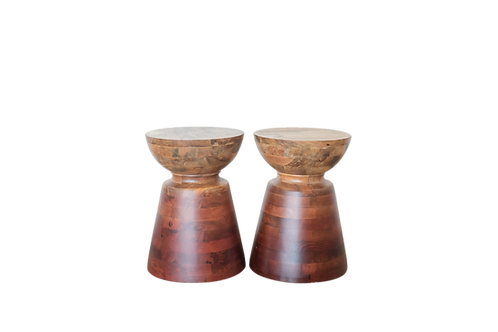 Ombre Wood Drum Side Tables