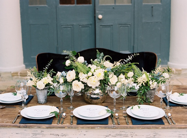 Vintage Table and Navy Sofa New Orleans Wedding