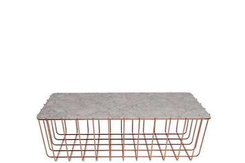 Copper & Marble Wire Base Coffee Table