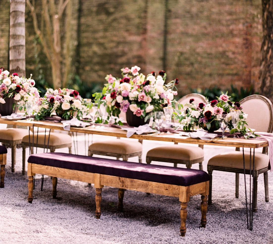 Plum Benches & Industrial Tables