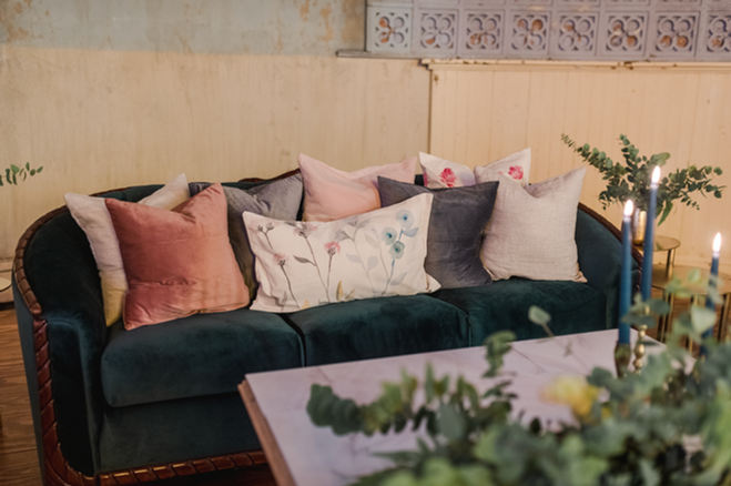 Everglade Sofa + Handpainted Floral Pillows