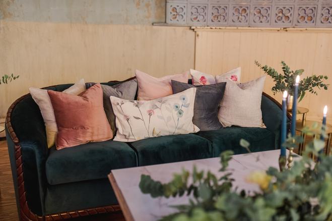 Everglade Sofa + Handpainted Floral Pillows