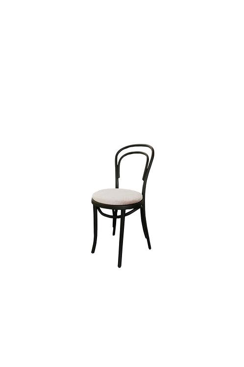 Thonet Black Bentwood Chair with Grey Velvet Cushion