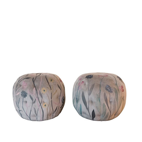 The Gallery Hand-Painted Floral Poufs