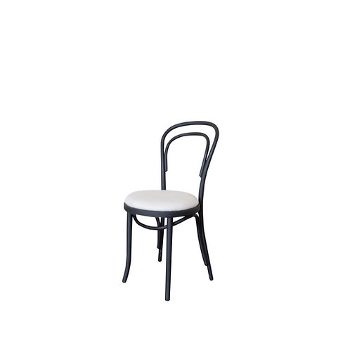 Thonet Black Bentwood Chair with Cream Linen Cushion