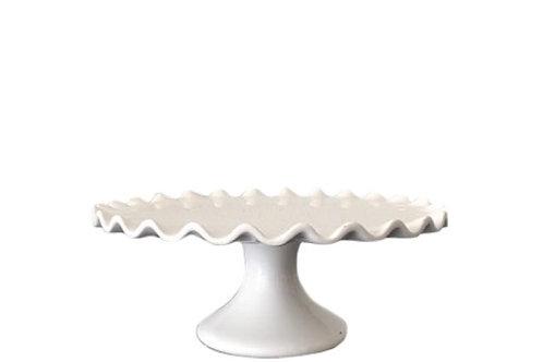 White Scallop 9.5 Inch Cake Pedestal