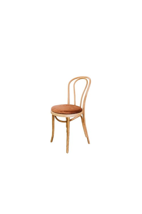 Bentwood Chair with Rust Velvet Cushion