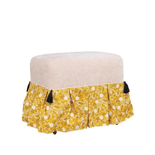 Mustard Floral-Skirt Ottoman