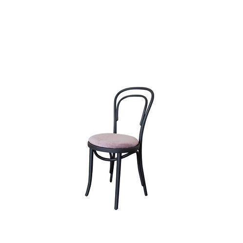 Thonet Black Bentwood Chair with Mauve Velvet Cushion