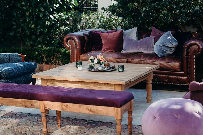 Hemingway Sofa + Purples and Blues