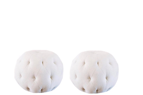 Cream Tufted Poufs