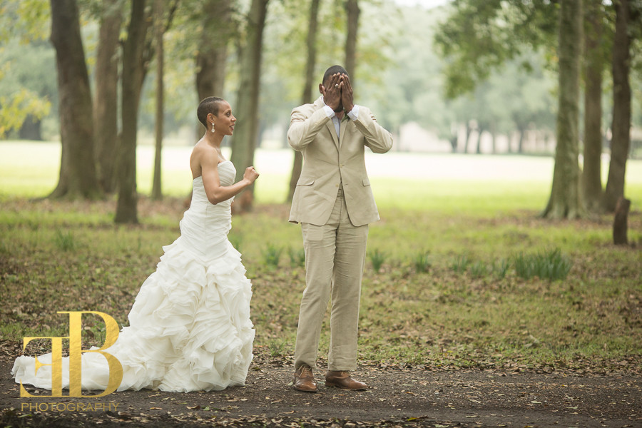 Margaree and Cleveland's first look, Destrehan Plantation Wedding