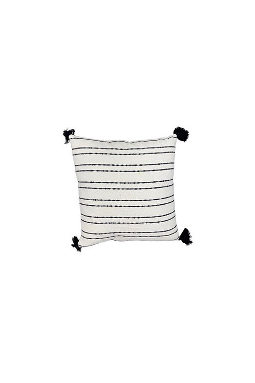 Black and White Tassel Floor Pillow