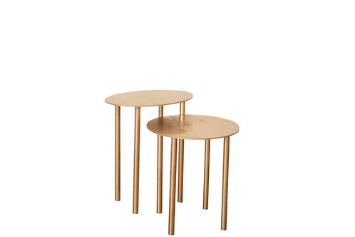 Sunset Gold Oval Side Tables