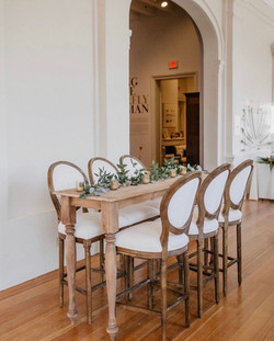 Linen Round Back Barstools with Aspen Tables