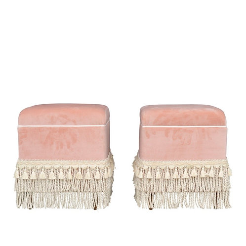 Dusty Coral Fringe Ottomans