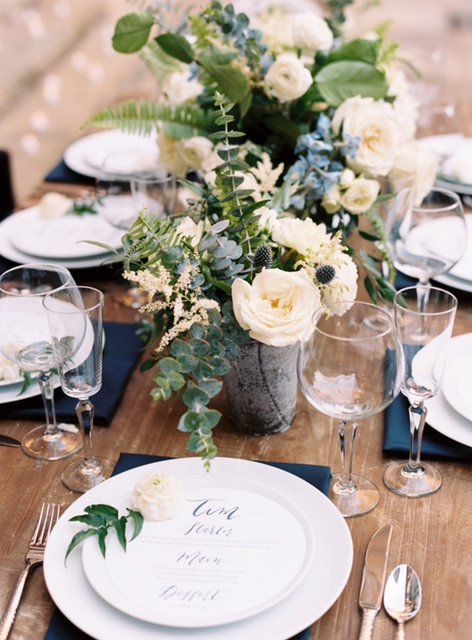 Wedding Floral Detail on Farm Table