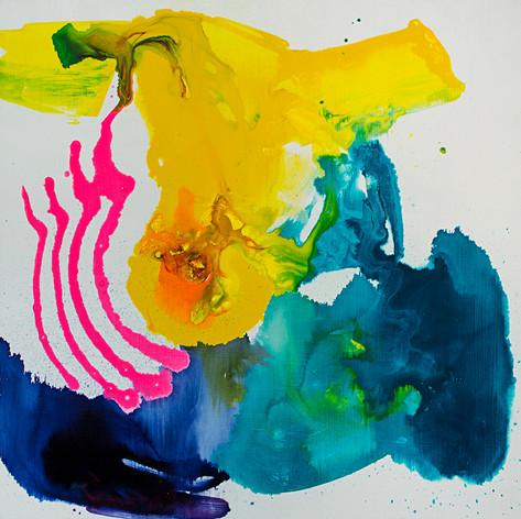"""Flow,  Acrylic on cradled panel, 16 x 16"""", 2018"""