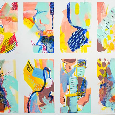 "Spring Studies, Acrylic, marker, pastel on bristol paper, 18"" x 24"", 2018"