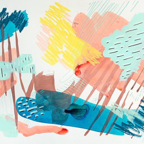 "Bathe, acrylic, marker, pastel on watercolor paper, 13"" x 19"", 2018"