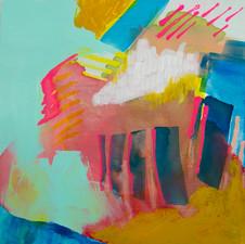 """Burgeon, Acrylic on cradled panel 12"""" x 12"""", 2018"""