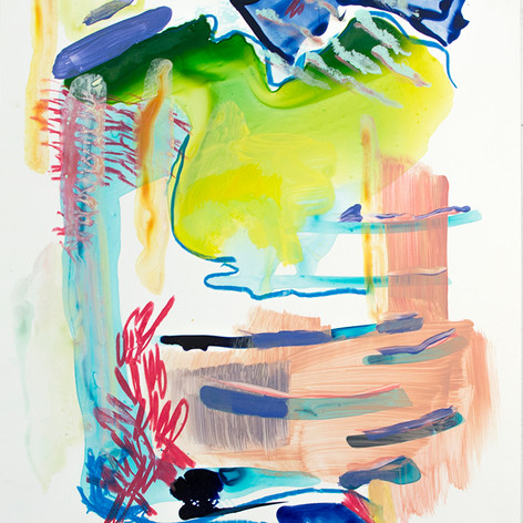 "Sprung, Acrylic on Yupo paper,  10"" x 8"", 2018"