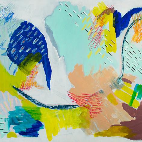"Growth,  Acrylic, pastel  on cradled panel, 18"" x 24"", 2018"