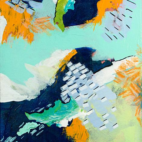 """Sun Shower, Acrylic  on canvas, 12"""" x 9"""", 2018"""
