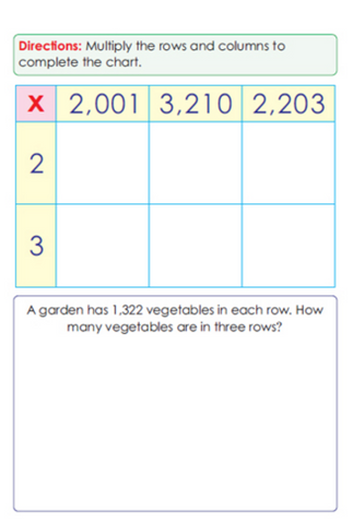 Fourth Grade Math Sample Page