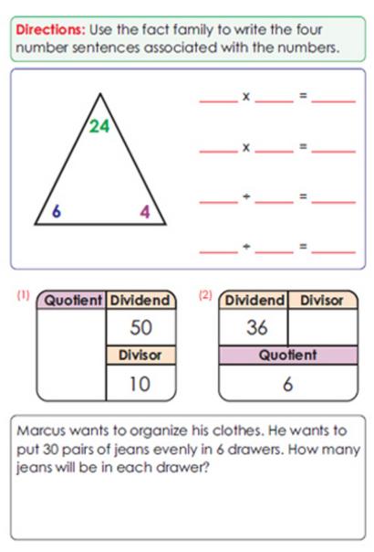 Third Grade Math Sample Page