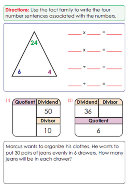Third Grade Math Sample Page