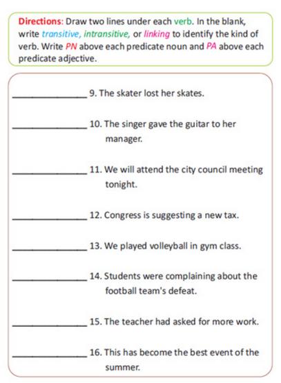 Seventh Grade Sample Page