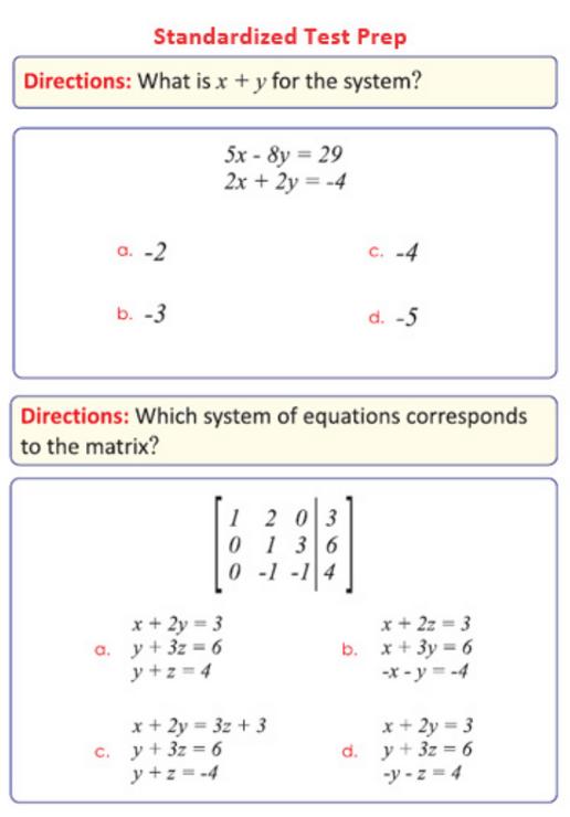 Eighth Grade Math Sample Page