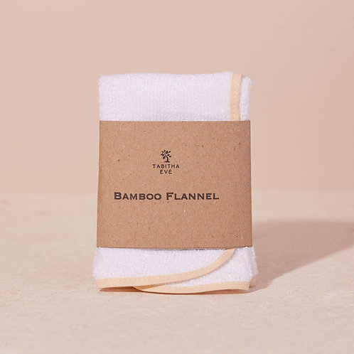 White Organic Bamboo Face Flannel