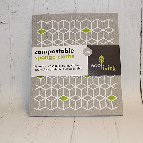 2 Pack Compostable Sponge Cleaning Cloths (Leaf & Cubes)